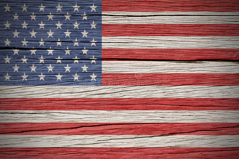 American Flag. Over a Wooden Background stock photos