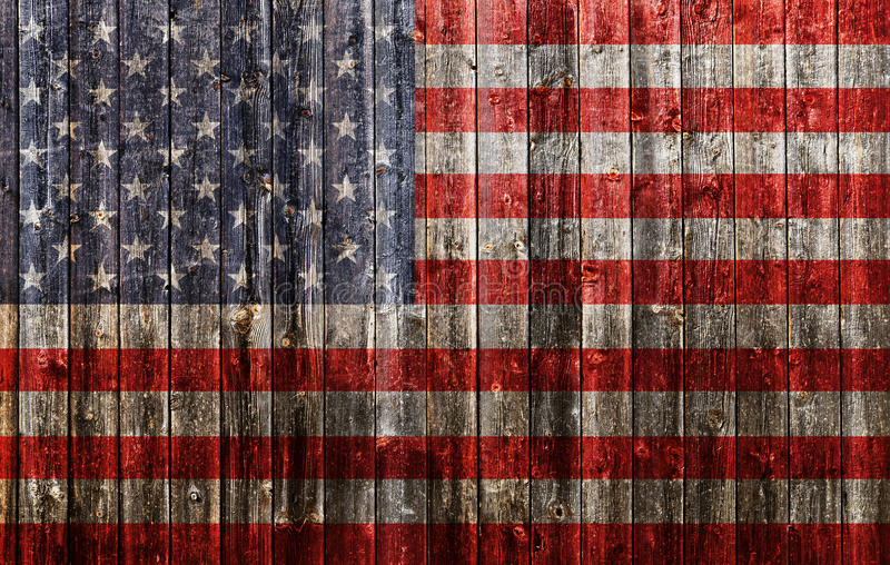 American flag painted on old wood. Plank background stock photos