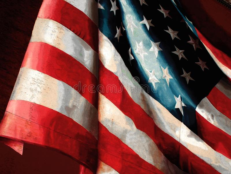 The American Flag. Painted on side of building in Phila.PA stock photography