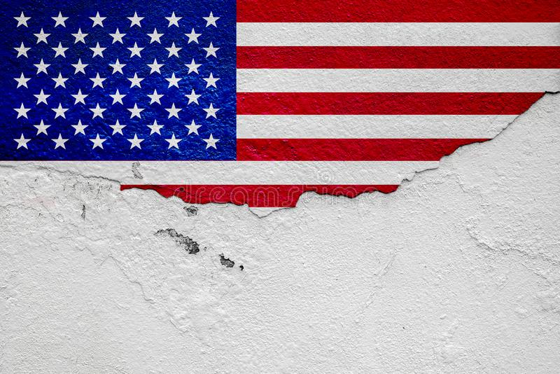 American flag, painted on the white plaster wall, Copy Space royalty free stock images