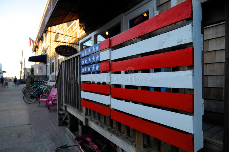 American flag painted on a wooden pallet royalty free stock images