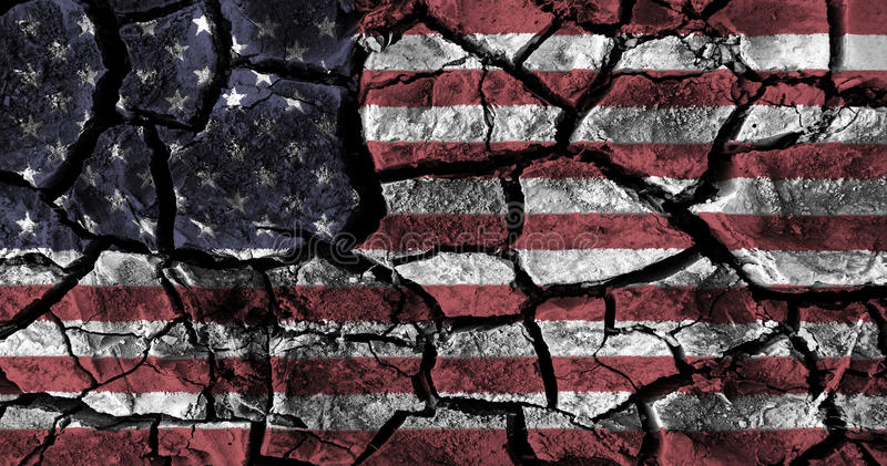 American flag painting on high detail cracked ground . royalty free illustration