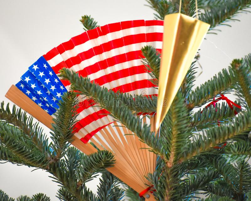 American Flag Patriotic Flag in Christmas Tree stock image