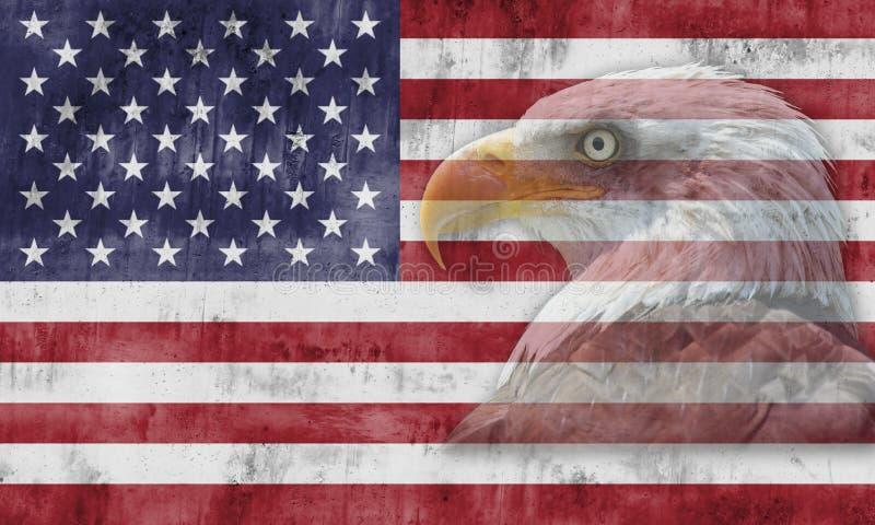 American flag and patriotic symbols. American flag with patriotic symbols of the United States of America royalty free stock image