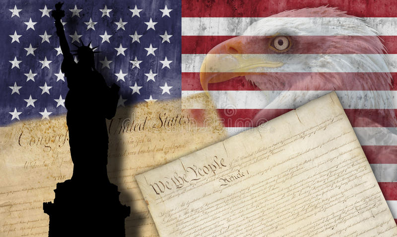 American flag and patriotic symbols royalty free stock photography