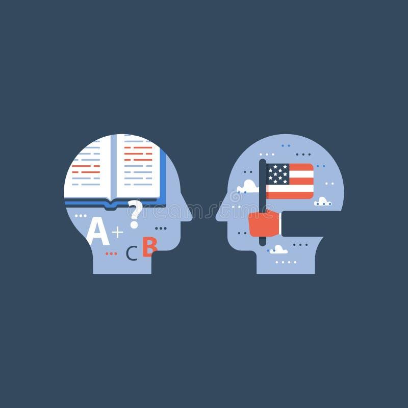 American flag and pencil, learn English, education program, international student exchange stock illustration
