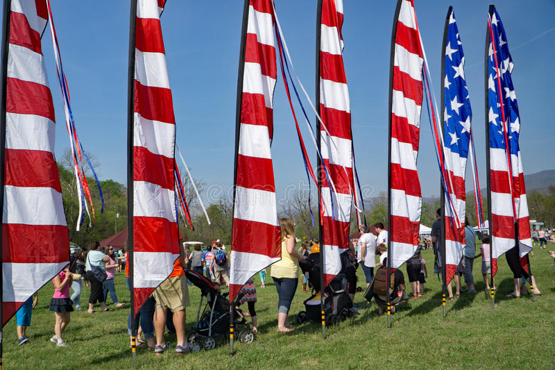 American Flag Pennant. Salem, Virginia, USA – April 15th: An American Flag pennant at the 19th Annual Blue Ridge Kite Festival at Green Hill Park located royalty free stock image