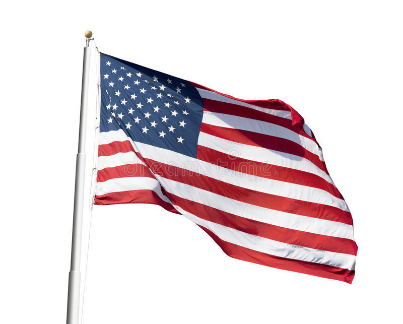American flag. Photo of American flag waving on white background royalty free stock photos