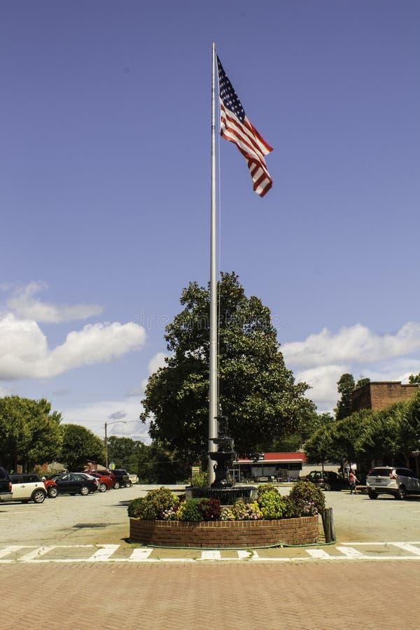 The American Flag in Pine Mountain. `The American Flag in  Pine Mountain` is photo taken in Pine Mountain, Georgia stock image