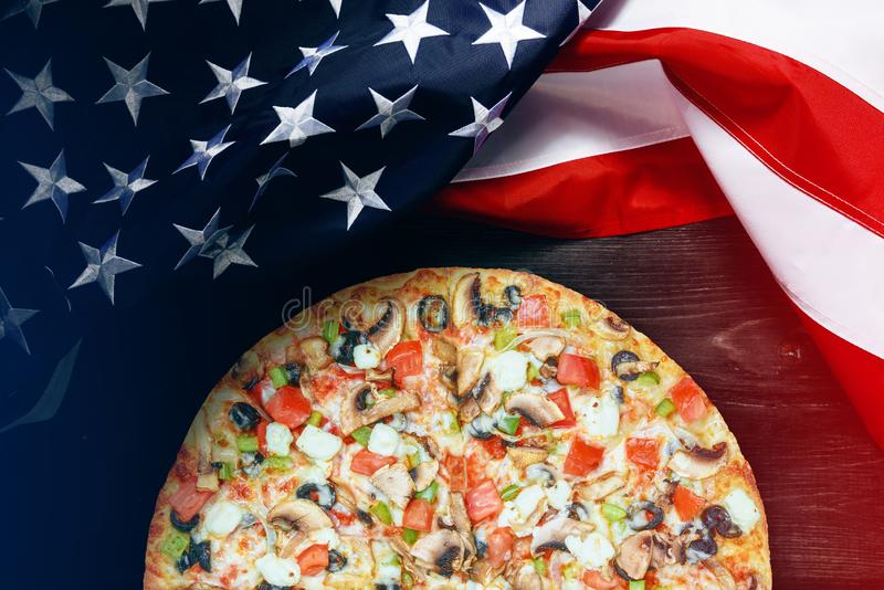 American flag with place for text. American flag and pizza with place for text stock photos