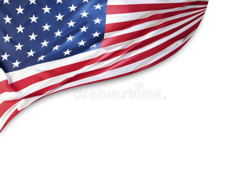 American flag. On plain background, copy space stock image