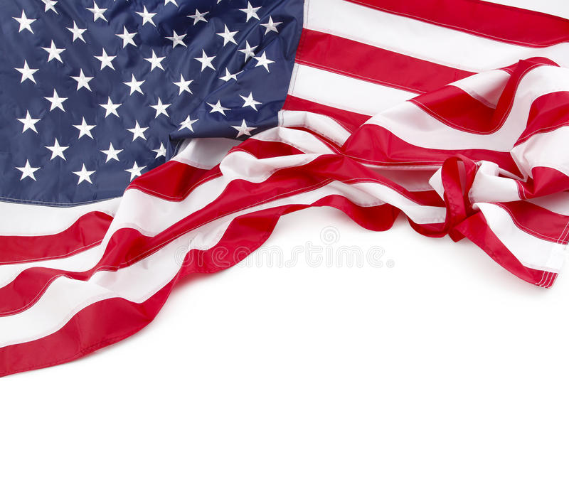 American flag. On plain background, copy space stock photos