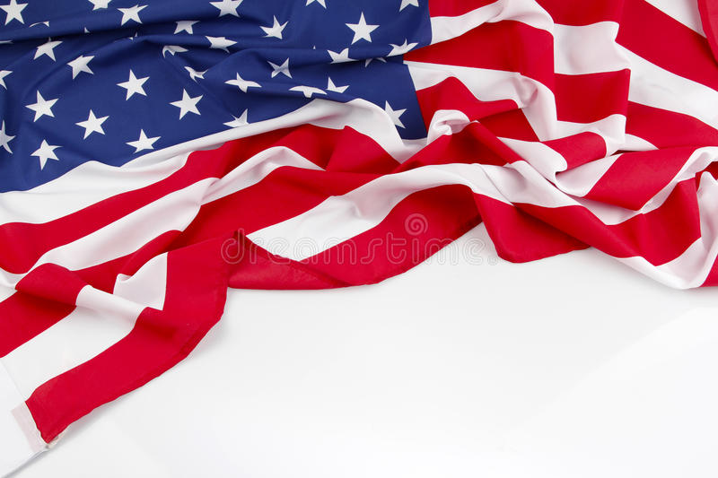 American flag. On plain background, copy space royalty free stock images