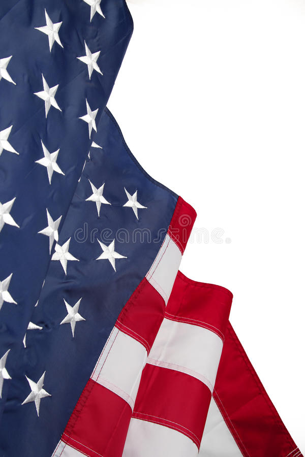 American flag. On plain background, copy space stock photography