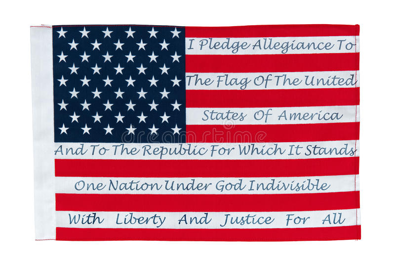 American Flag With The Pledge Of Allegiance. Printed On The Stripes royalty free stock image