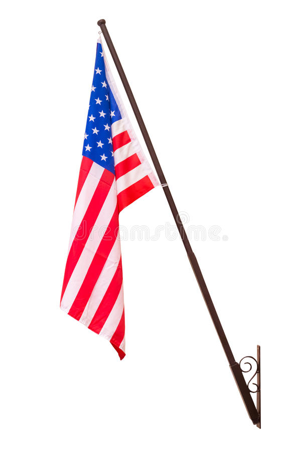 American flag with pole for decoration. Isolated on white background with clipping path stock photography