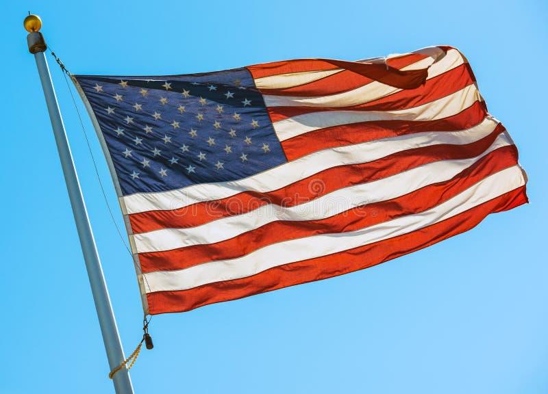 American Flag on a Pole stock photos