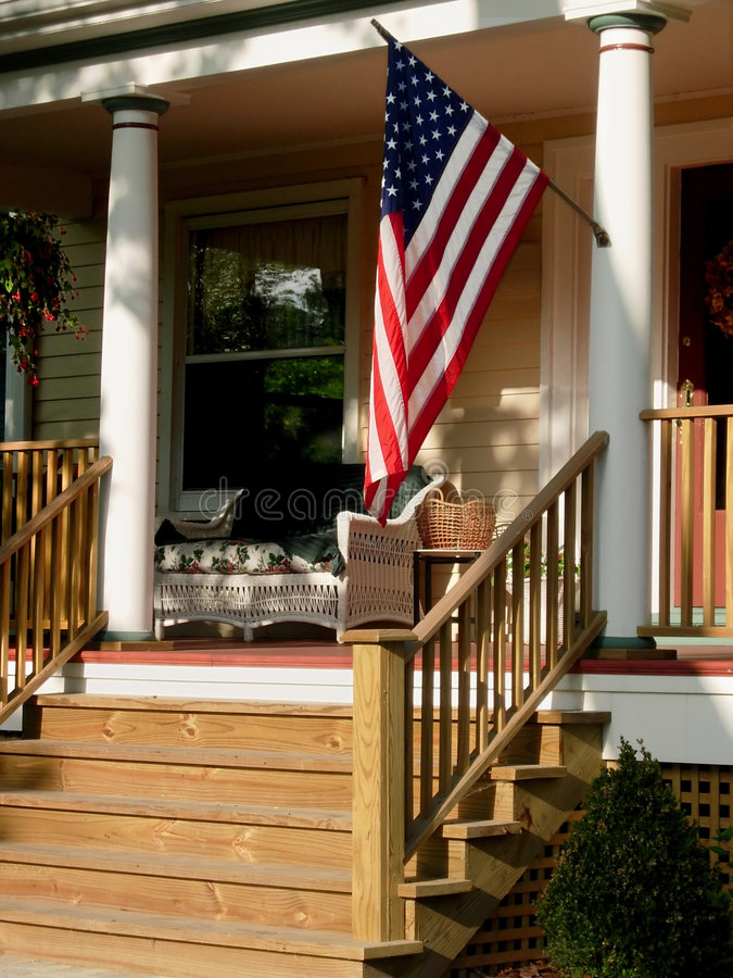 Download American flag on porch. stock photo. Image of july, blue - 877646