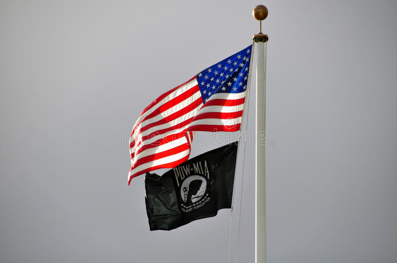 American Flag and POW-MIA royalty free stock photo