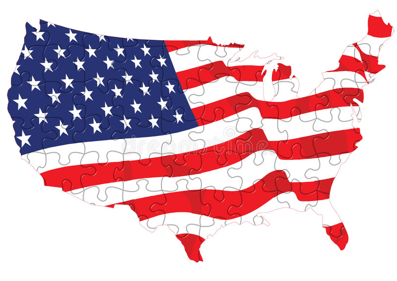 American flag puzzle stock illustration