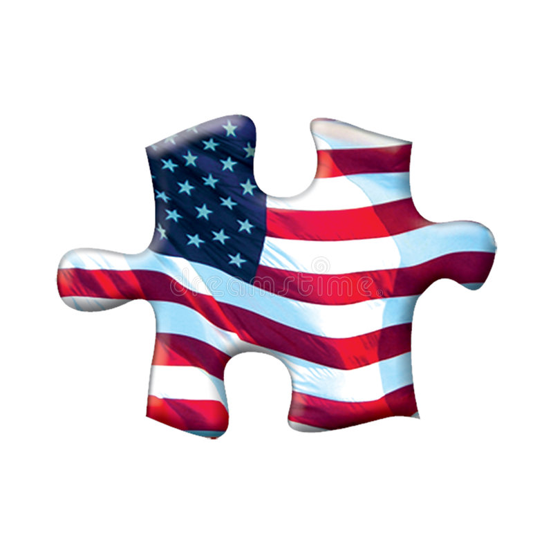 Download American flag puzzle piece stock illustration. Image of success - 176225