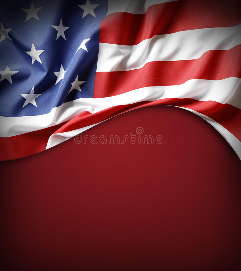 American flag. On red background stock photos