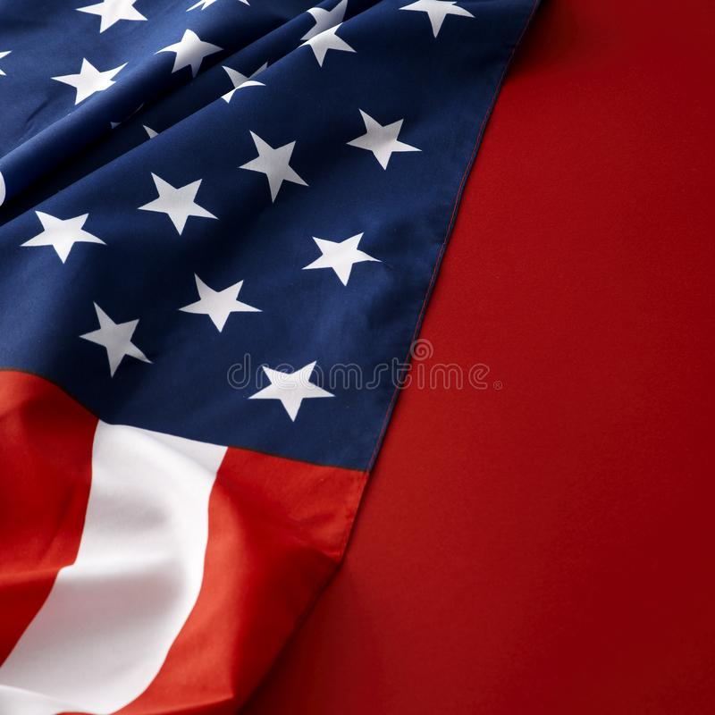 American flag on red background. USA 4th of july background / border stock photography
