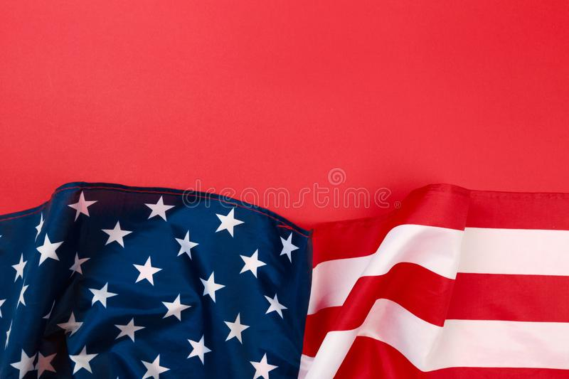 American flag on red background  top view. Image royalty free stock image