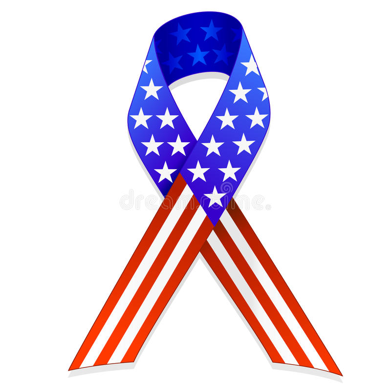 American Flag Ribbon EPS. An illustration of a ribbon shaped American flag. Shadow placed on separate layer for ease of use. Available in vector EPS format