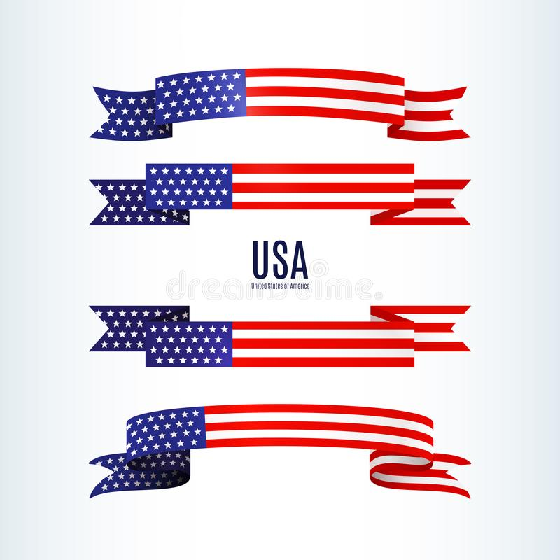 American flag ribbon stars stripes Patriotic American theme USA flag of a wavy ribbon shape icon Design element for Independence vector illustration