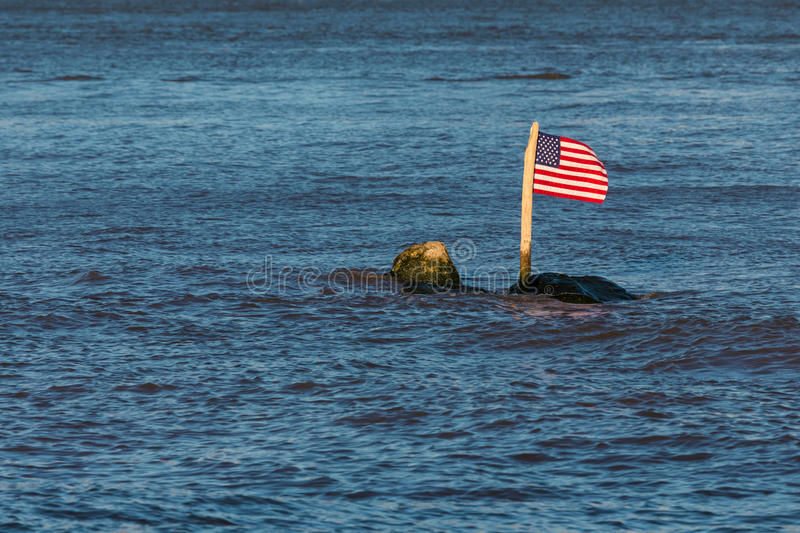 Download The American Flag On A Rock In A River Stock Photo - Image of politics, banner: 41277782