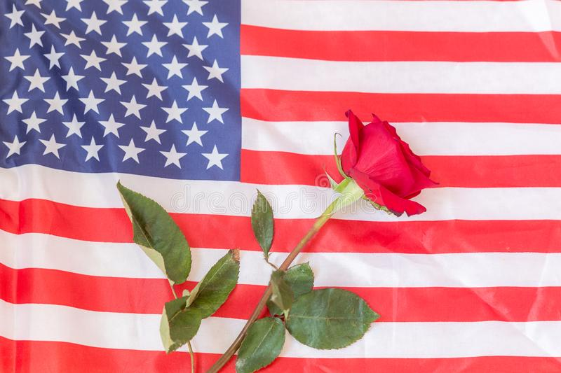 American flag with a rose to honor those who have sacrificed their lives. stock photos
