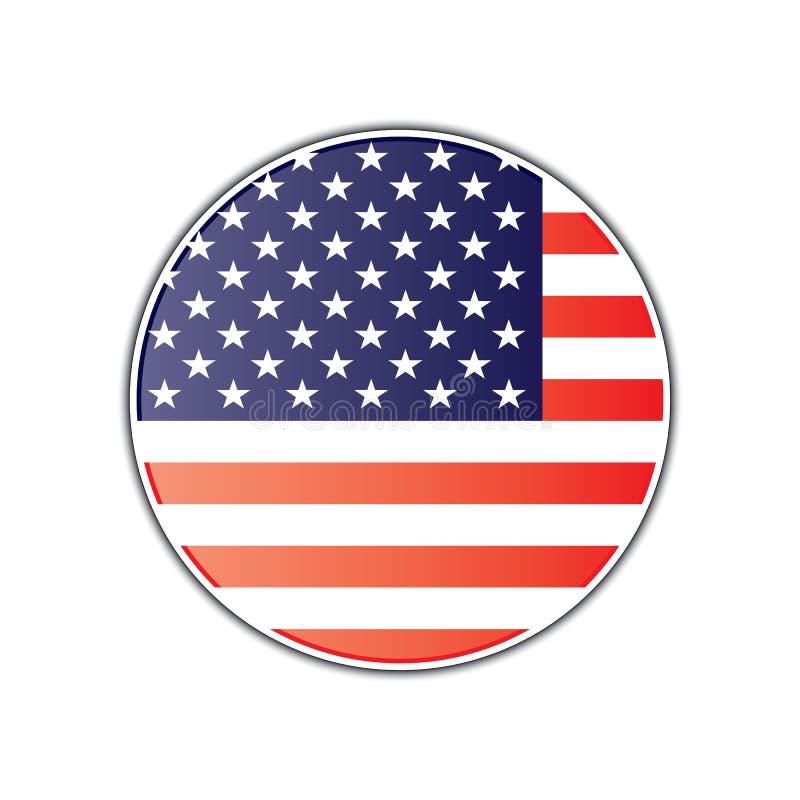 American flag round glossy badge. vector illustration