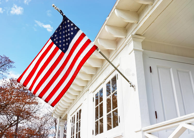 American flag on Sandy Hook Light house museum stock photography