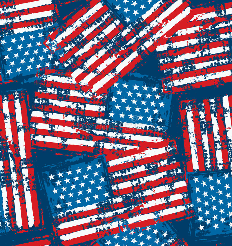 American flag seamless pattern with grunge distress texture stock illustration