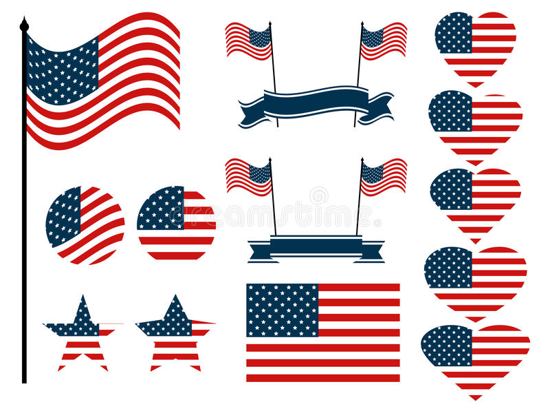 American flag set. Collection of symbols with the flag of the United States of America. Vector royalty free illustration