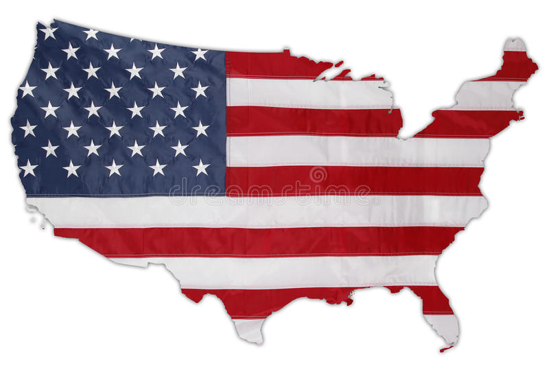 American flag. In shape of USA on plain background royalty free stock photo