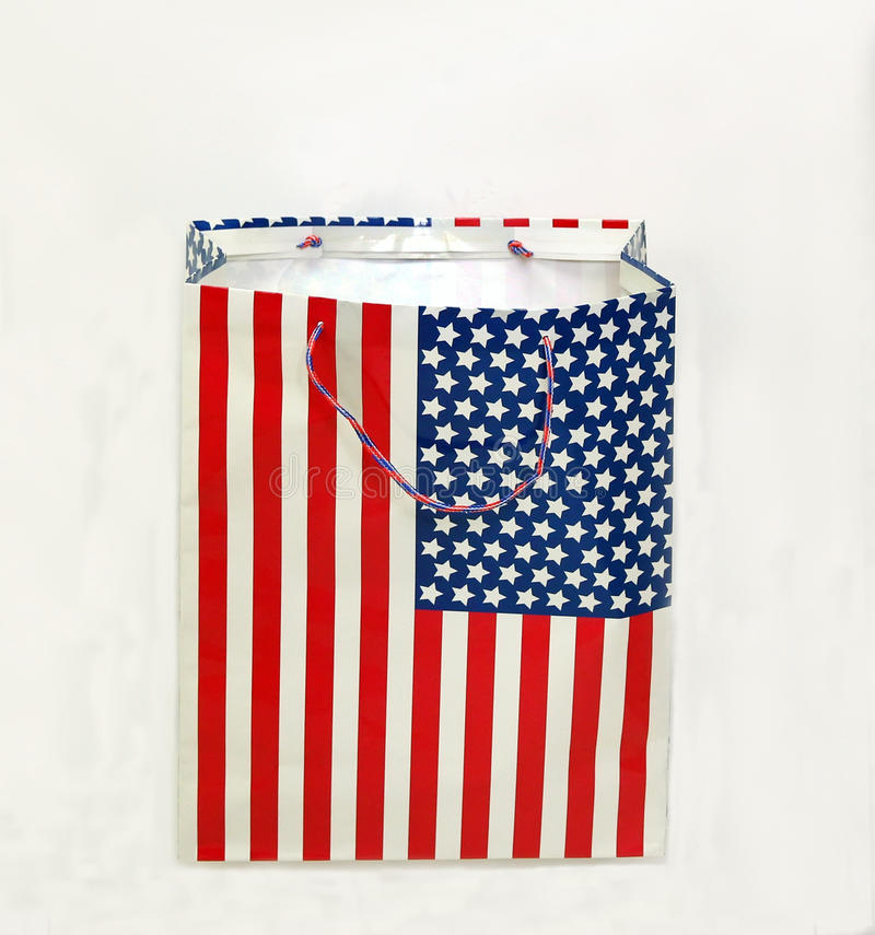 American Flag shopping Bag. American flag shopping bag on a white background stock photo