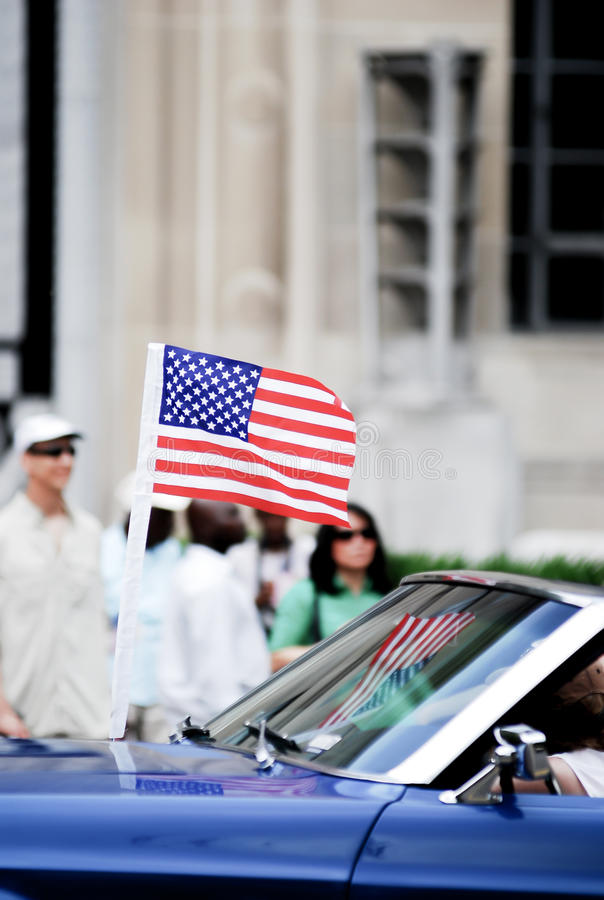 American flag show on 4th of july parade. God bless America stock images