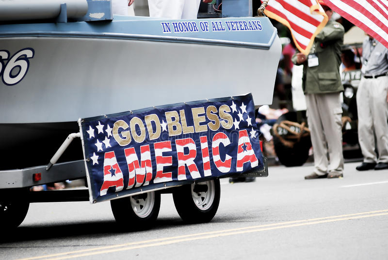 American flag show on 4th of july parade. God bless America stock image