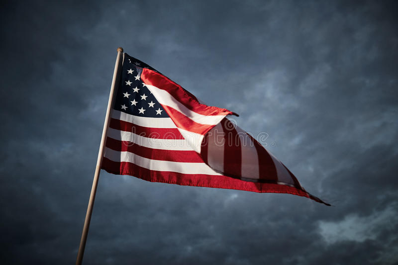 American flag. On sky background. Freedom stock images
