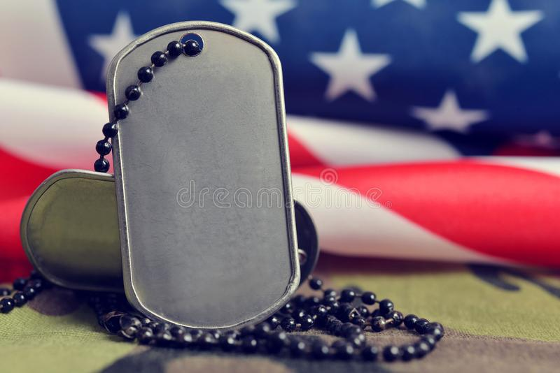 American flag and soldiers badges. royalty free stock photography