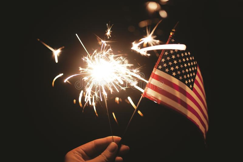 American Flag And Sparkler Free Public Domain Cc0 Image
