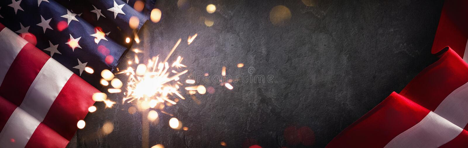 American Flag with Sparklers. Independence Day USA stock photos