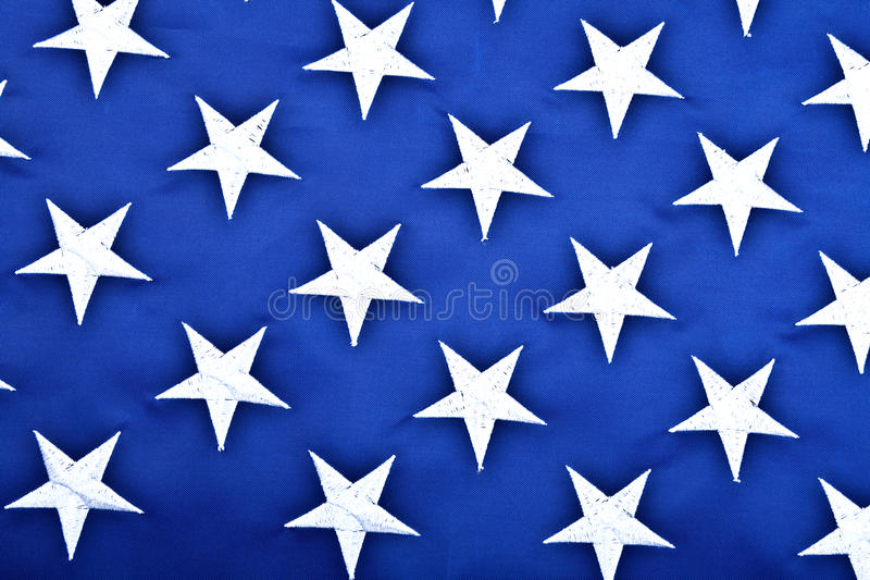 American Flag - Star. Usa flag's blue - white star close-up shotting stock photo