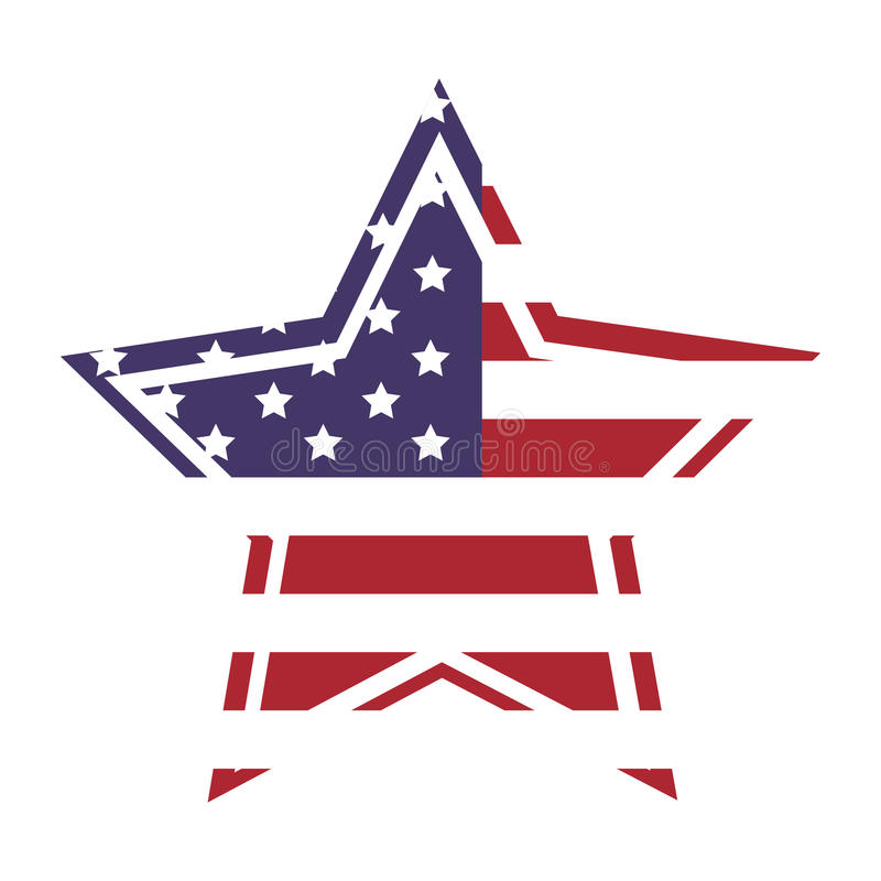 American flag star icon with outline royalty free illustration