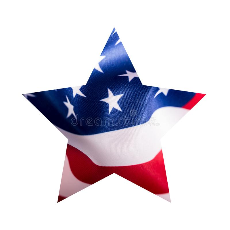 American flag in star shape isolated on white background.  royalty free stock image