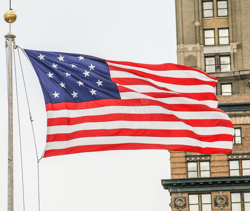 The American Flag. The Star Spangled Banner flying in New York stock photo