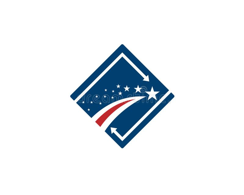 American flag Star trail or stripes folowed by hundreds little stars vector illustration