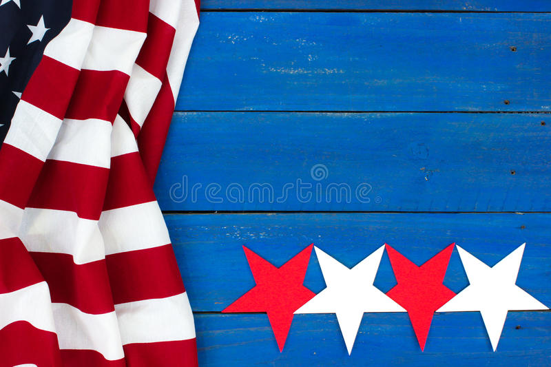 American flag and stars on blank wood sign royalty free stock images